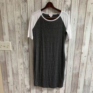 Lularoe gray/white dress size small